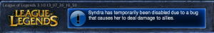 Syndra got benched due to bad behavior ;-)